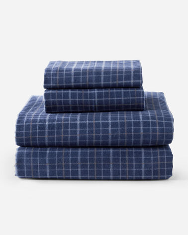 PLAID FLANNEL SHEET SET IN BLUE SELDON
