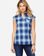 JANE WOOL PLAID POPOVER IN BLUE OMBRE