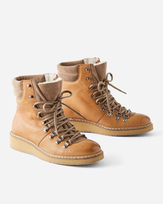 SHERPA LINED LACE-UP BOOTS, NATURAL TAN, large