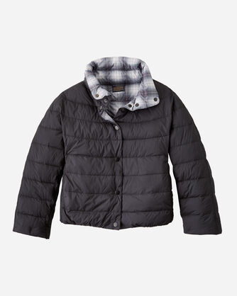 ALTERNATE VIEW OF WOMEN'S REVERSIBLE QUILTED PUFFER JACKET IN BLACK