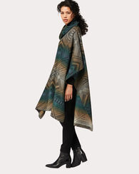 TUMBLING GEMS FUNNEL NECK PONCHO, BLACK MULTI, large