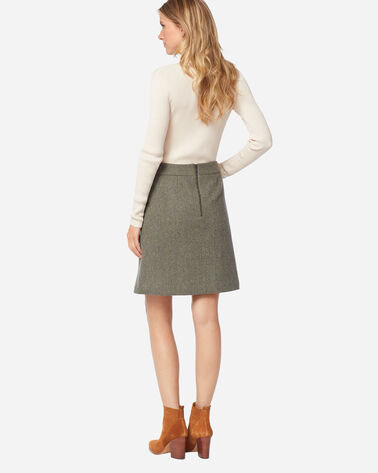ADDITIONAL VIEW OF MARLOWE WOOL SKIRT IN OLIVE/BEIGE HERRINGBONE