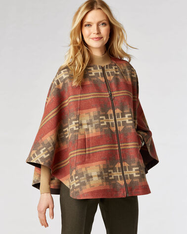AURORA BROKEN ARROW ZIP CAPE, BROWN MULTI, large