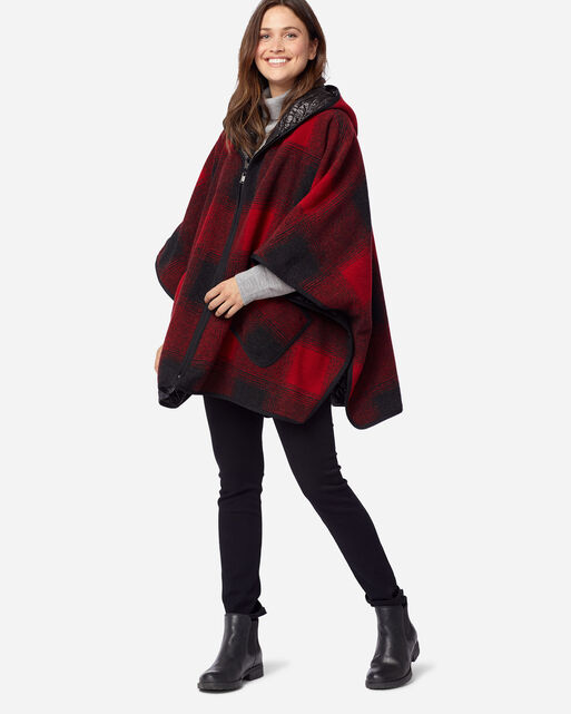 WOMEN'S HOODED REVERSIBLE PONCHO IN RED/BLACK BUFFALO OMBRE