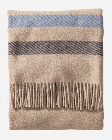 ALTERNATE VIEW OF ECO-WISE WOOL FRINGED THROW IN FAWN STRIPE