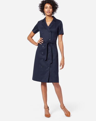 SEASONLESS WOOL LONGLINE DRESS IN MIDNIGHT NAVY