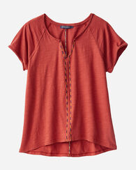 CAP SLEEVE EASY TEE, TOMATO RED, large