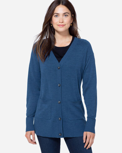 LIGHTWEIGHT MERINO CARDIGAN, BLUE WING HEATHER, large