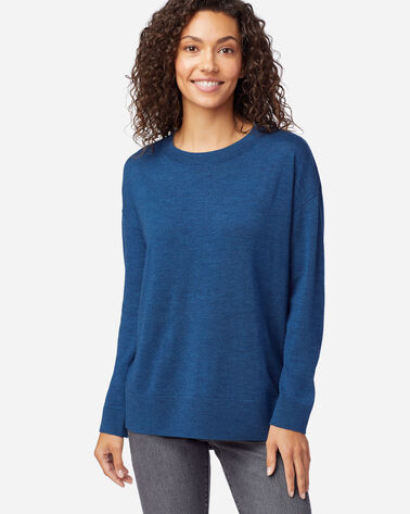 WOMEN'S TIMELESS MERINO CREW SWEATER IN MOROCCAN BLUE