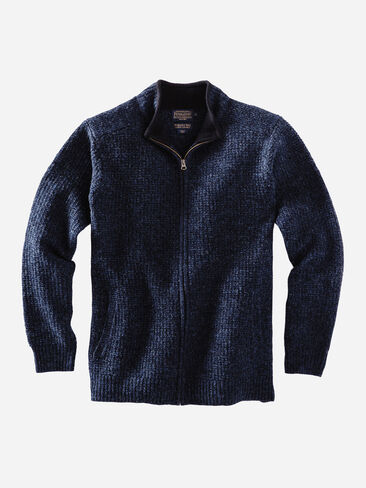 SHETLAND FULL-ZIP CARDIGAN IN DARK INDIGO MIX