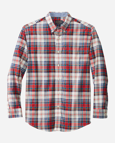 MEN'S LONG-SLEEVE MADRAS SHIRT, RED/IVORY PLAID, large