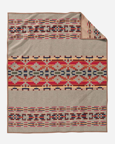 ADDITIONAL VIEW OF PAINTED HILLS BLANKET IN TAUPE