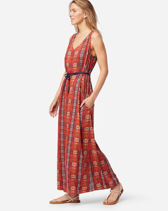 ALTERNATE VIEW OF SLEEVELESS PATTERNED MAXI DRESS IN RED OCHRE