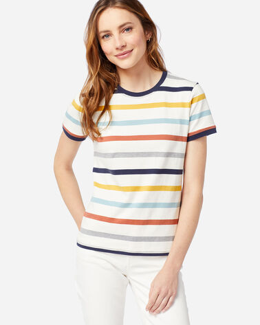 WOMEN'S DESCHUTES RINGER TEE IN IVORY/NAVY STRIPE