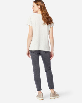 ALTERNATE VIEW OF WOMEN'S EMBROIDERED POCKET TEE IN LIGHT TAN HEATHER