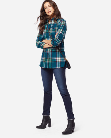 ULTRAFINE MERINO ONE POCKET TUNIC, TURQUOISE PLAID, large