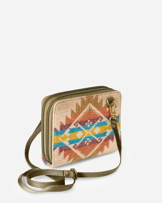 ALTERNATE VIEW OF JACQUARD WALLET ON STRAP IN TAOS TRAIL TAN