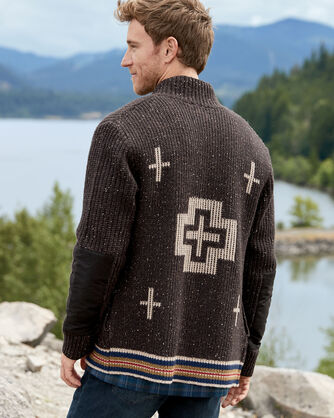 ADDITIONAL VIEW OF MEN'S SHELTER BAY CARDIGAN IN BROWN
