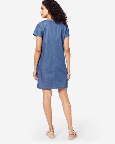 ADDITIONAL VIEW OF TALA EMBROIDERED SHIFT DRESS IN LAKE BLUE