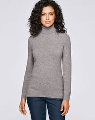 CASHMERE TURTLENECK, SOFT GREY HEATHER, large
