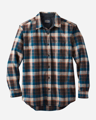 MEN'S LODGE SHIRT IN BROWN/MARINE BLUE CHECK