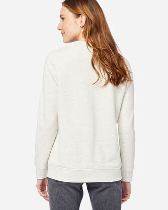 ALTERNATE VIEW OF WOMEN'S EMBROIDERED CREW SWEATSHIRT IN LIGHT TAN HEATHER