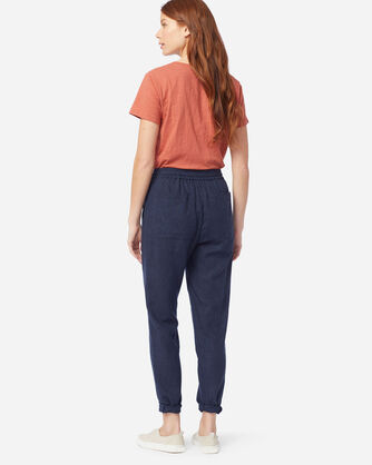 ALTERNATE VIEW OF WOMEN'S WASHED LINEN PANTS IN NAVY MIX