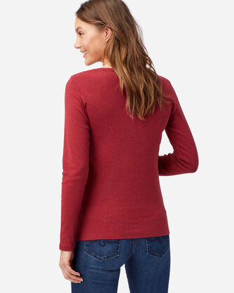 ADDITIONAL VIEW OF WOMEN'S LONG-SLEEVE COTTON RIBBED TEE IN RED ROCK HEATHER