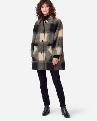 WOMEN'S SHORT HILLS CHECK COAT IN OATMEAL/BLACK  PLAID