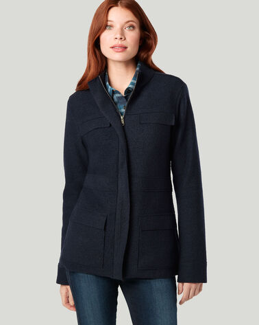 BOILED WOOL MILITARY JACKET, MIDNIGHT NAVY, large