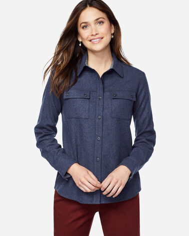 QUIMBY HIGH-LOW WOOL SHIRT, NAVY MIX, large