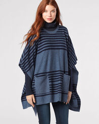 STRIPE KNIT PONCHO, BLUE HORIZON/NAVY, large