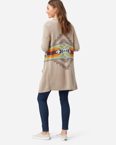 WOMEN'S SIERRA PEAK LONG CARDIGAN IN TAUPE MULTI
