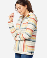 WOMEN'S SURF STRIPE HOODED PULLOVER IN NATURAL/RED/GOLD