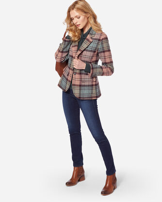 BRYNN WOOL BLAZER, ROSE SHETLAND PLAID, large
