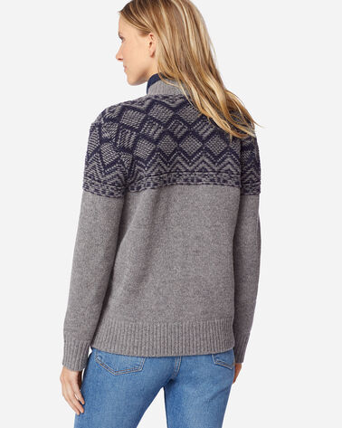 ADDITIONAL VIEW OF WOMEN'S MOSAIC YOKE ZIP FRONT SWEATER IN GREY
