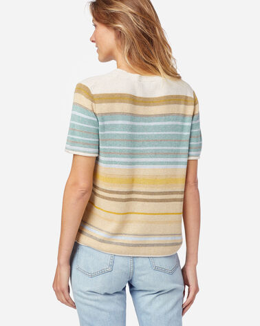 ALTERNATE VIEW OF WOMEN'S STRIPE SHORT-SLEEVE SWEATER TEE IN GOLD/AQUA