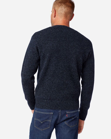 ALTERNATE VIEW OF MEN'S SHETLAND WASHABLE WOOL CREWNECK IN INDIGO HEATHER