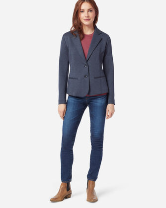ADDITIONAL VIEW OF WOMEN'S DOUBLE KNIT BLAZER IN INDIGO/ROSE