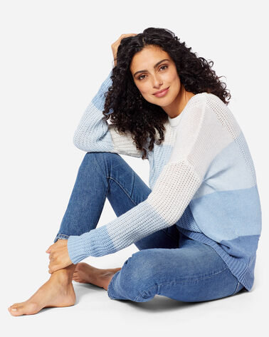WOMEN'S OMBRE CREWNECK SWEATER IN BLUE/IVORY