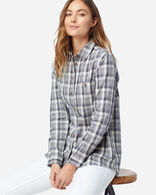 WOMEN'S BEACH SHACK SHIRT IN IVORY/NAVY PLAID