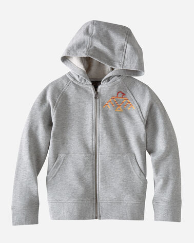 KIDS' GRAPHIC HOODIE IN GREY HEATHER
