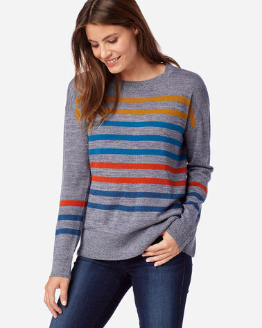 WOMEN'S TIMELESS MERINO STRIPED CREW IN BLUE MARL MULTI