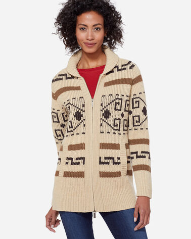 WOMEN'S LONG WESTERLEY CARDIGAN IN TAN/BROWN