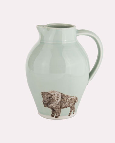 HANDMADE BISON PITCHER, CELADON, large