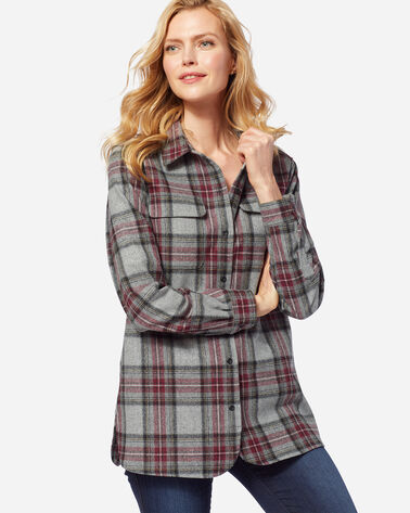 WOMEN'S BOARD SHIRT, GREY STEWART TARTAN, large