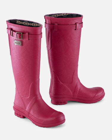 HERITAGE EMBOSSED TALL RAIN BOOTS IN SCARLET