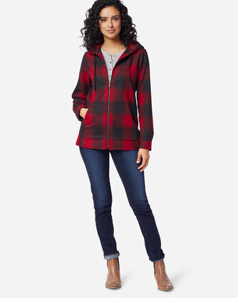 ADDITIONAL VIEW OF WOMEN'S WOOL ZIP HOODIE IN RED/BLACK BUFFALO CHECK