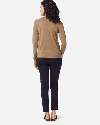 ADDITIONAL VIEW OF WOMEN'S TIMELESS MERINO V-NECK SWEATER IN CAMEL HEATHER