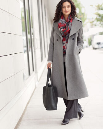 WOMEN'S LONG SHAWL-COLLAR COAT, MEDIUM GREY, large